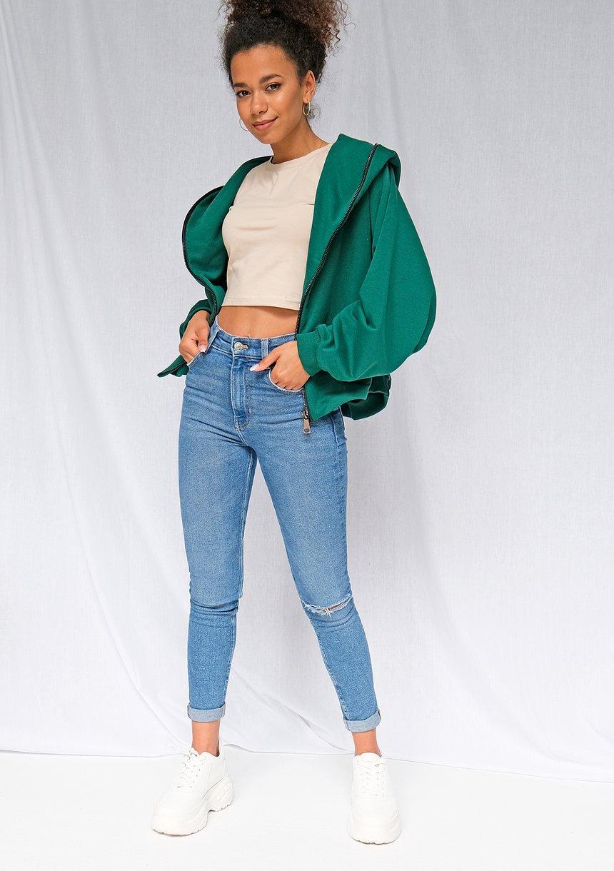 Rozpinana bluza o luźnym kroju zielona ILM