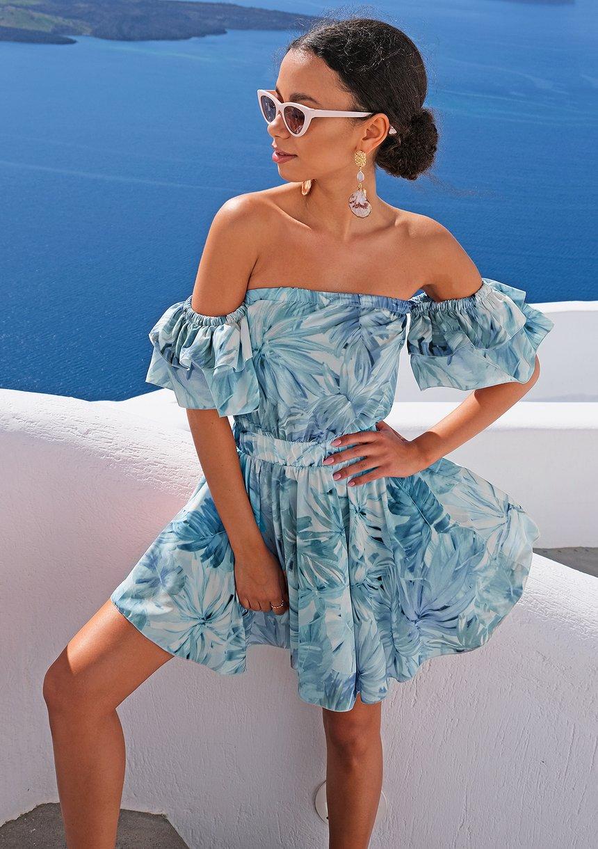 Mini sukienka pastel leaves Niebieska