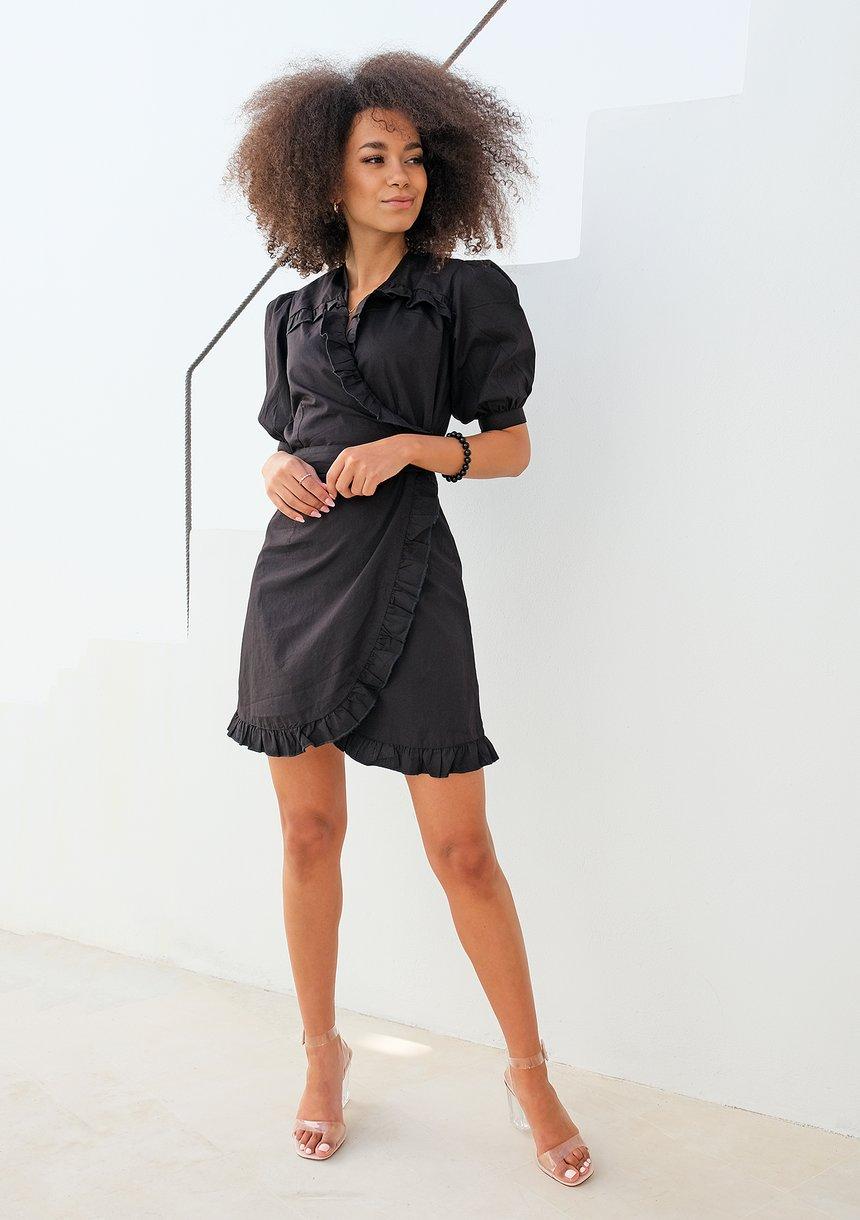 Kopertowa sukienka w popeliny czarna