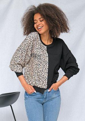 Dwukolorowa  bluza z leopardem ILM