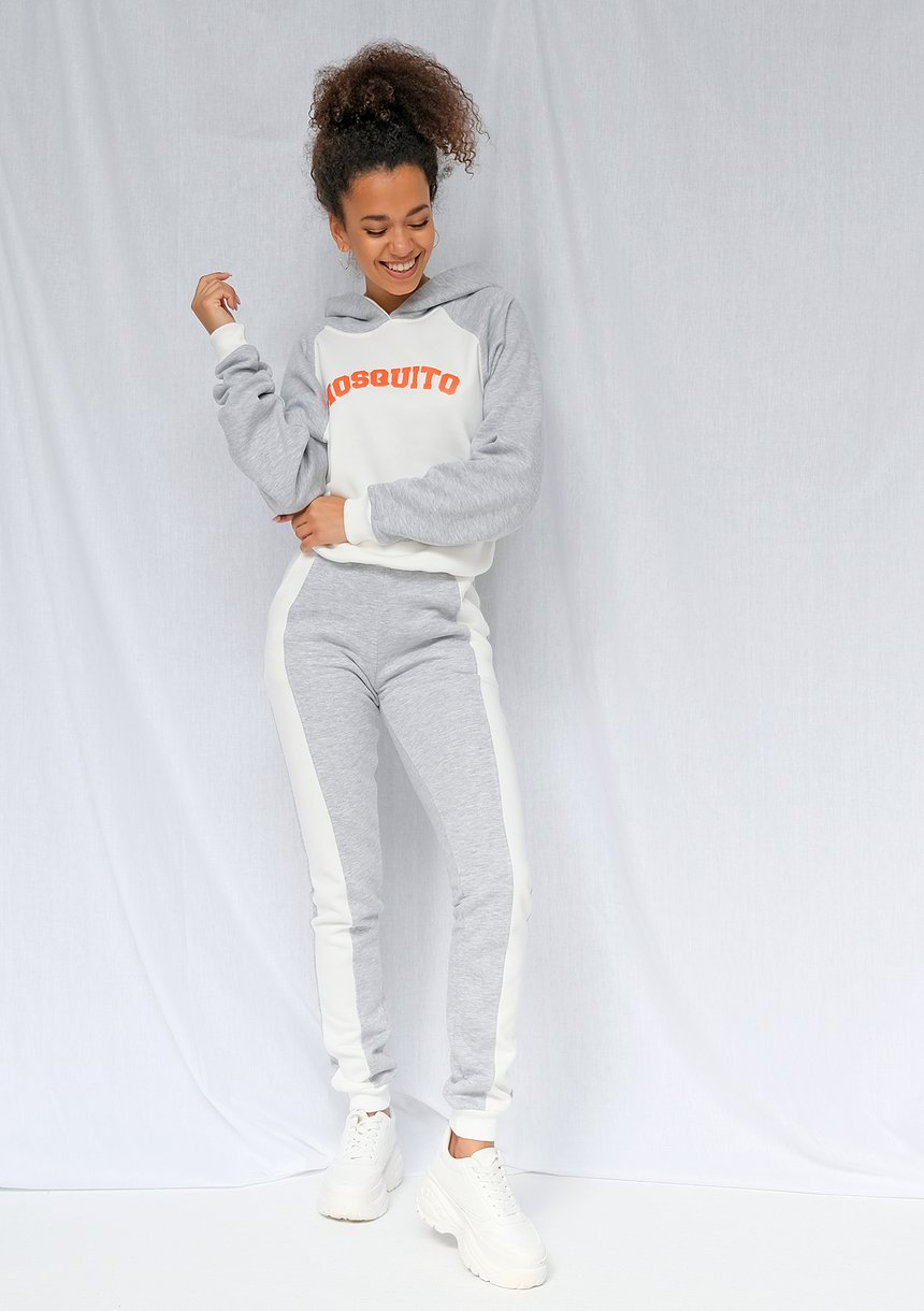 Bluza z kapturem orange logo szara ILM