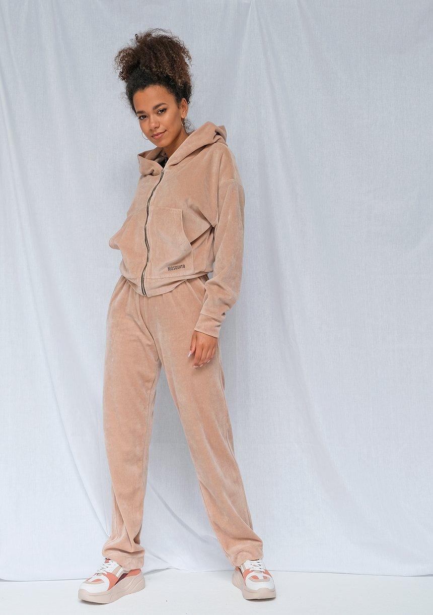 Welurowe spodnie z szeroką nogawką beżowe ILM
