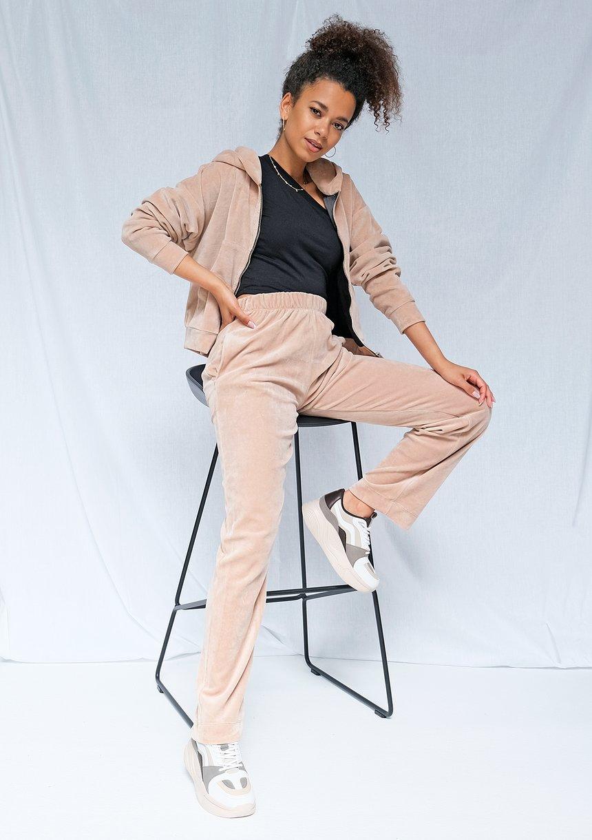 Welurowe spodnie z szeroką nogawką ILM