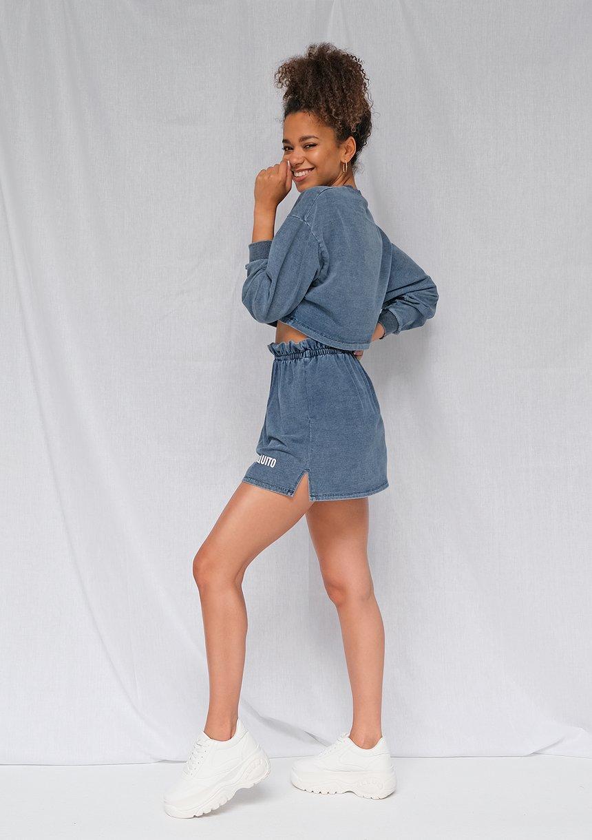 Bluza cropped z bawełny denim niebieska ILM