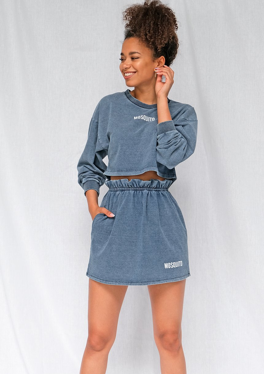 Spódniczka z bawełny denim niebieska ILM
