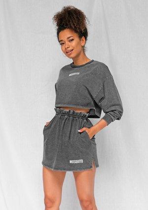 Bluza cropped z bawełny denim czarna ILM
