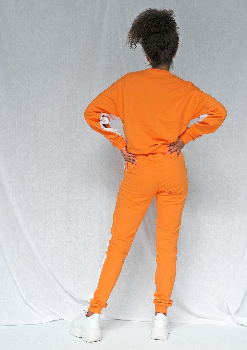 Spodnie two colors z lampasem pomarańczowe ILM