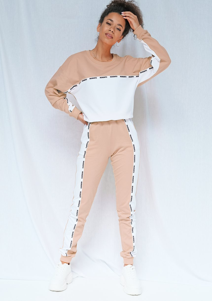 Bluza two colors z lampasem taupe ILM