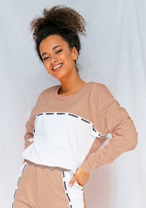 White & Taupe sweatshirt with side stripe ILM