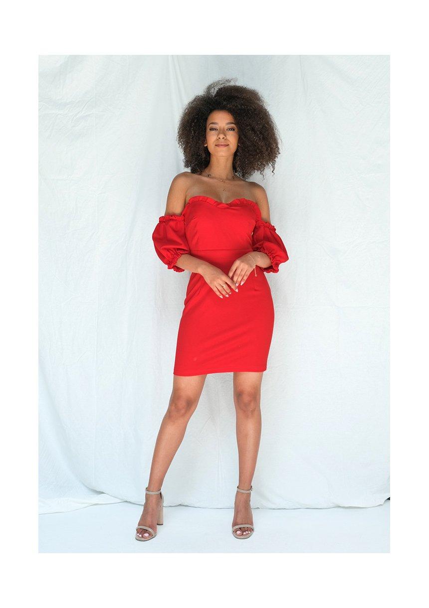 Dopasowana sukienka z gorsetową górą czerwona