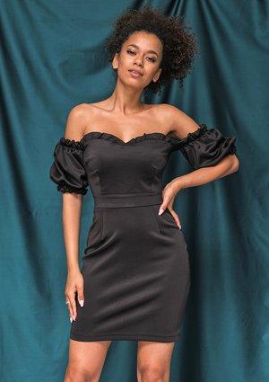 Dopasowana sukienka z gorsetową górą czarna