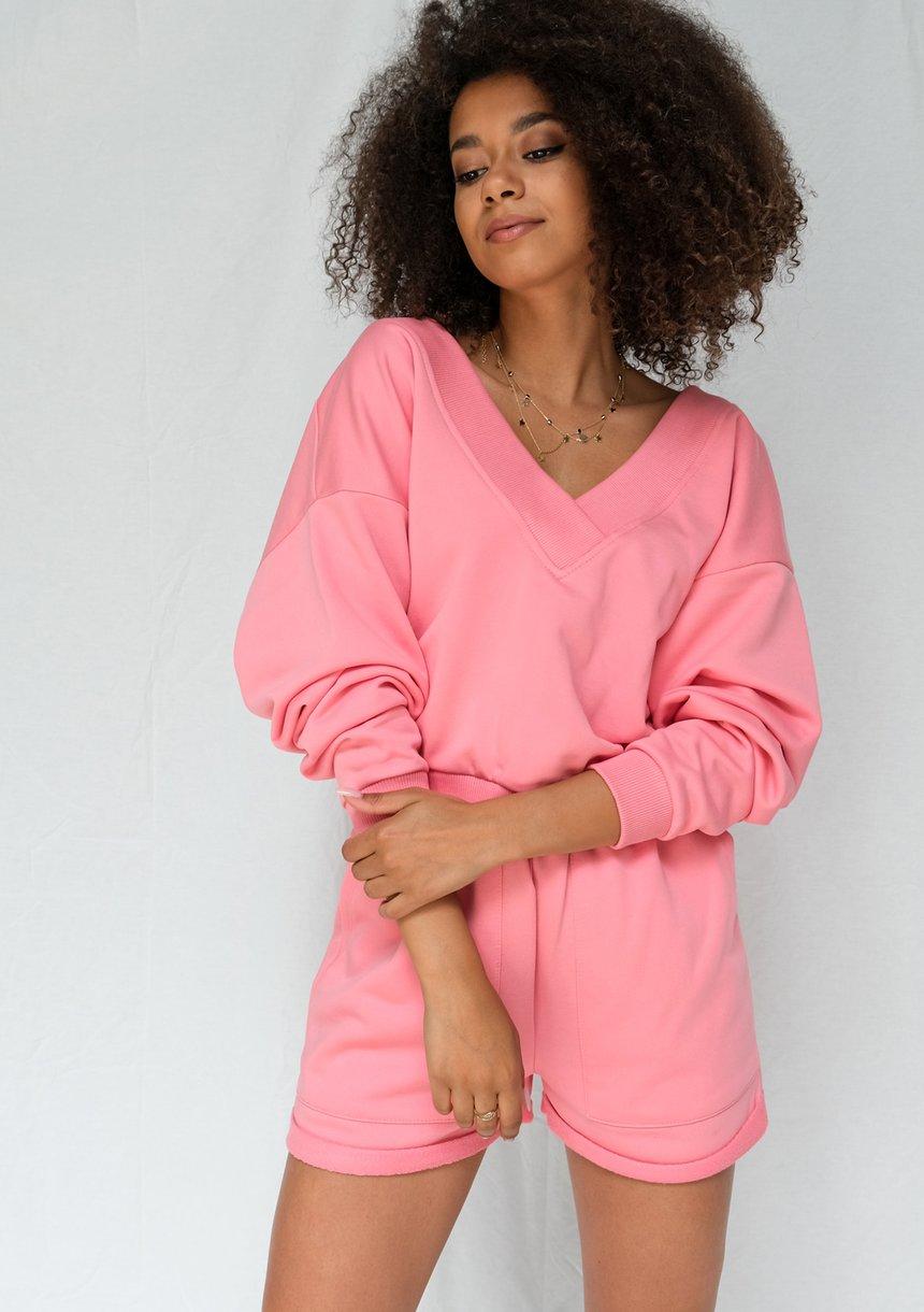 Bluza z dekoltem V koralowy róż ILM