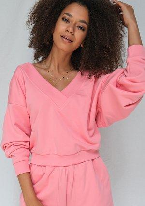 Coral pink v-neck sweatshirt ILM