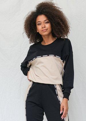 Black and beige sweatshirt with logo stripe ILM