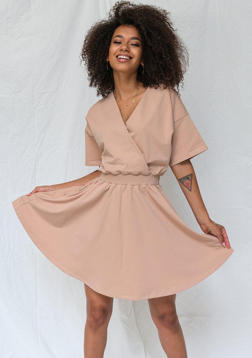 Kopertowa sukienka z jerseyu Taupe