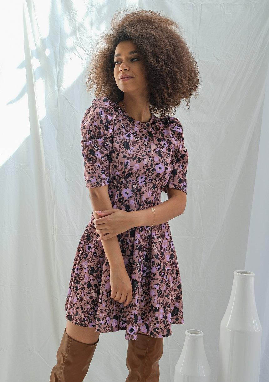 Sukienka o trapezowym kroju Lila flower print