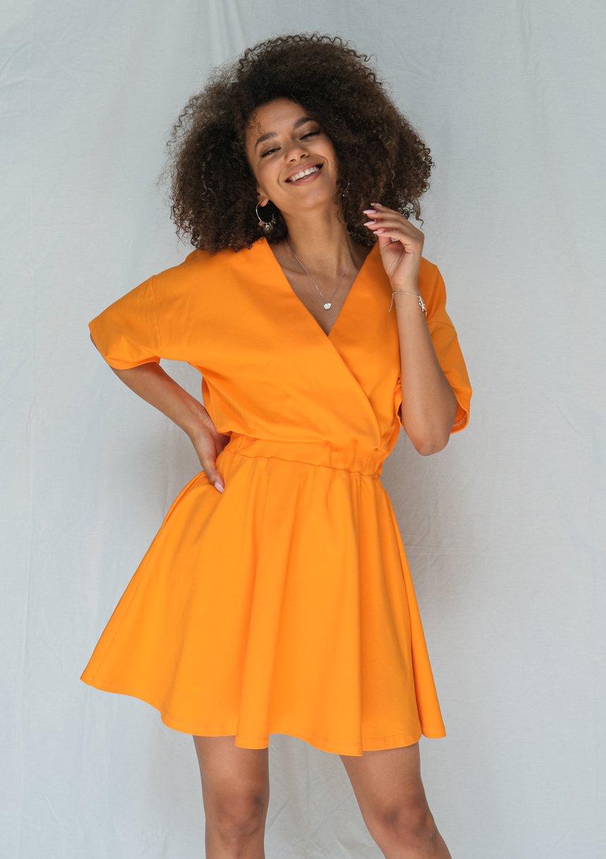 Kopertowa sukienka z Jerseyu Pomarańczowa