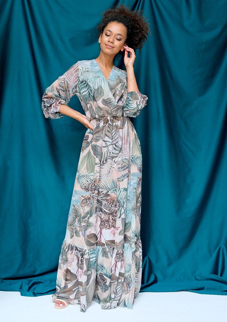 Szyfonowa sukienka maxi exotic garden