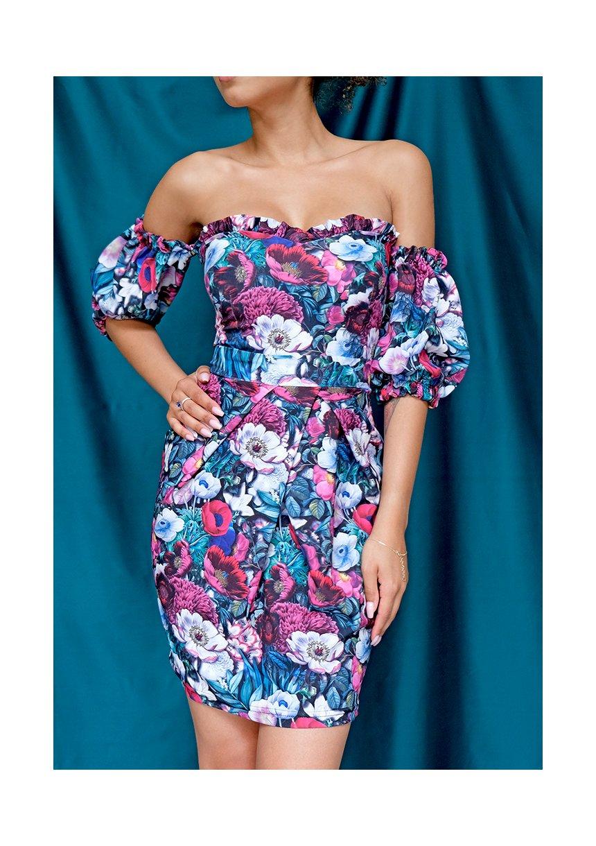 Gorsetowa sukienka tulipan w kwiaty
