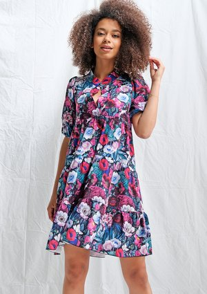 Sukienka na stójce flowers print