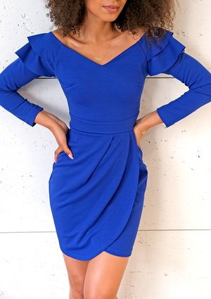 Cobalt bodycon dress with frills on the shoulder