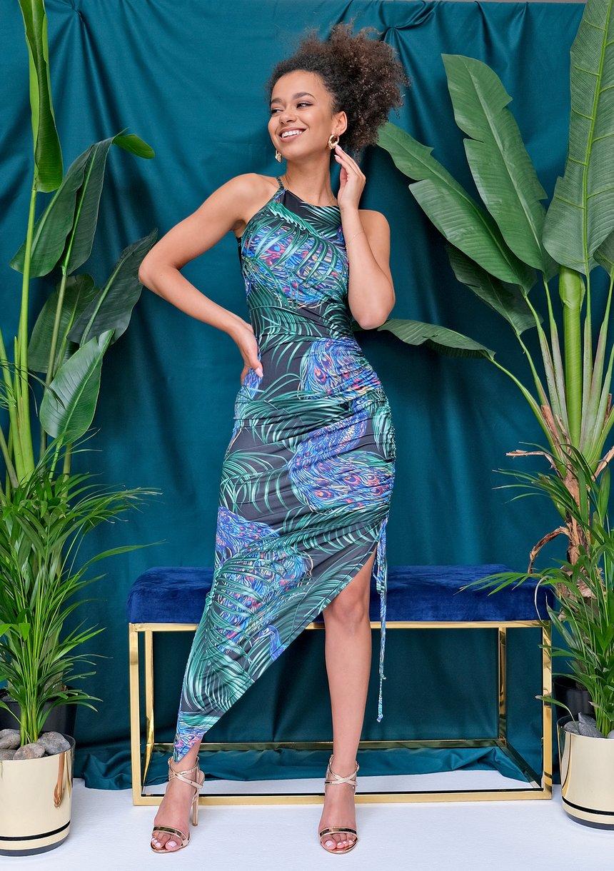 Asymetryczna dopasowana sukienka Peacook
