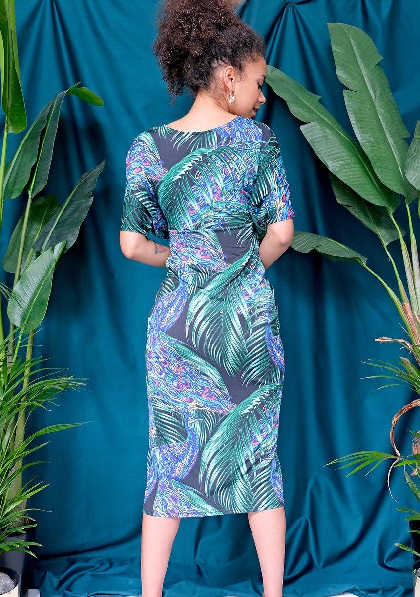 Sukienka midi peacook print
