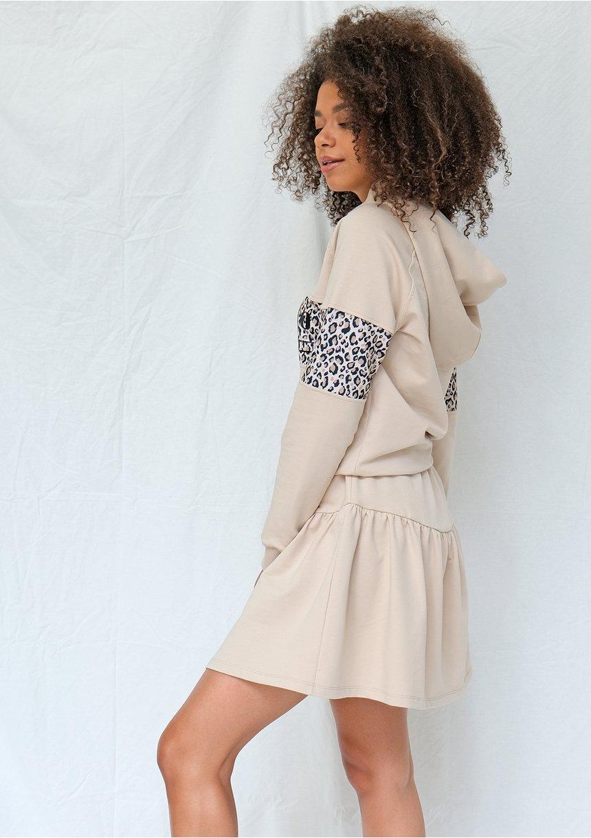 Bluza z kapturem leopard beżowa ILM