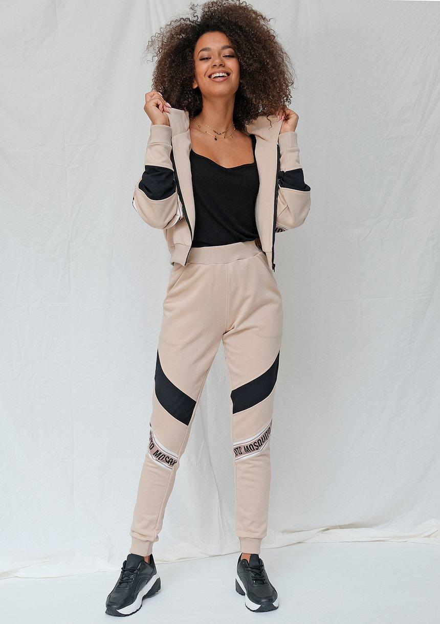 Spodnie ze wstawką logo beżowe ILM