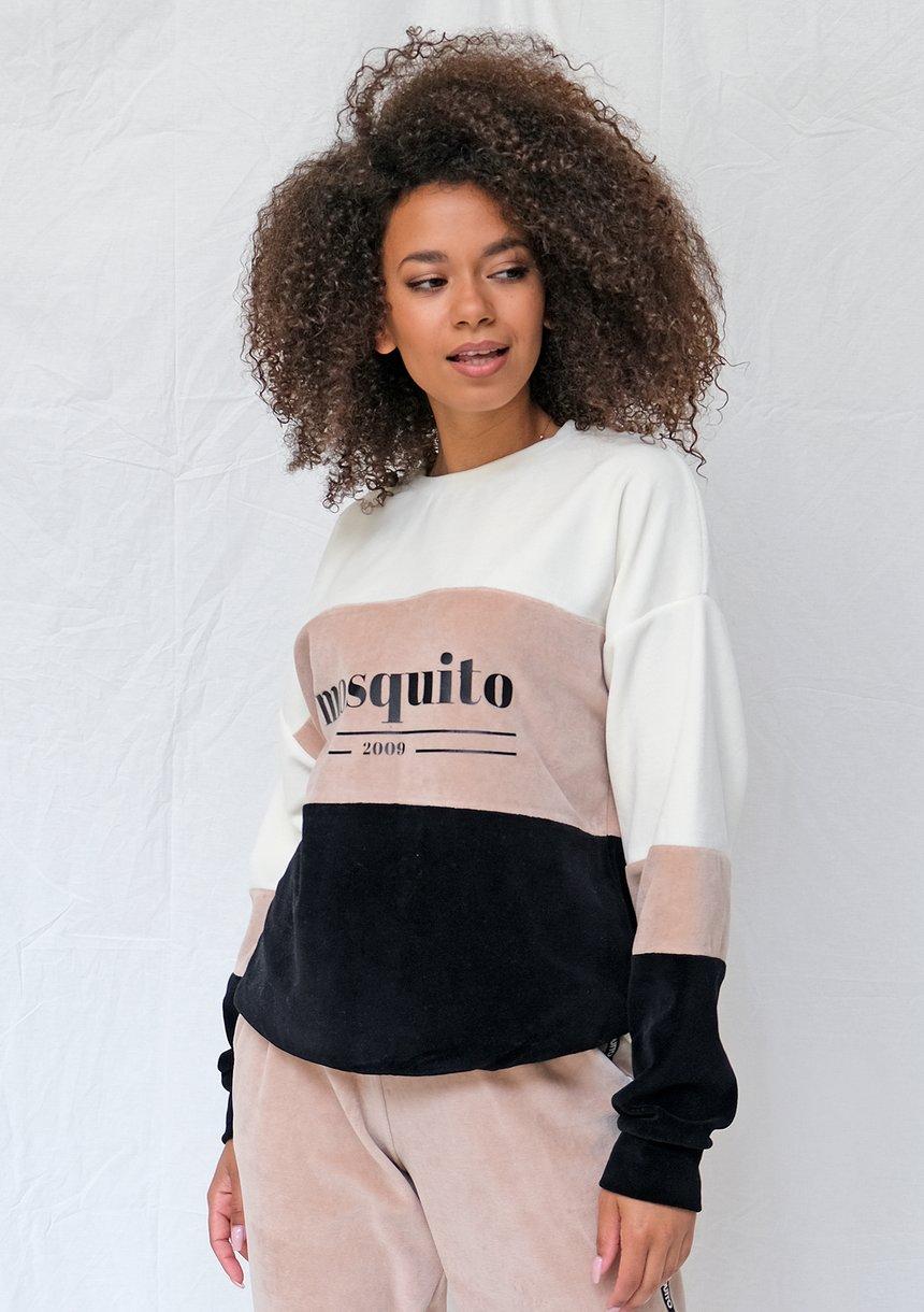 Welurowa bluza ze wstawką taupe ILM