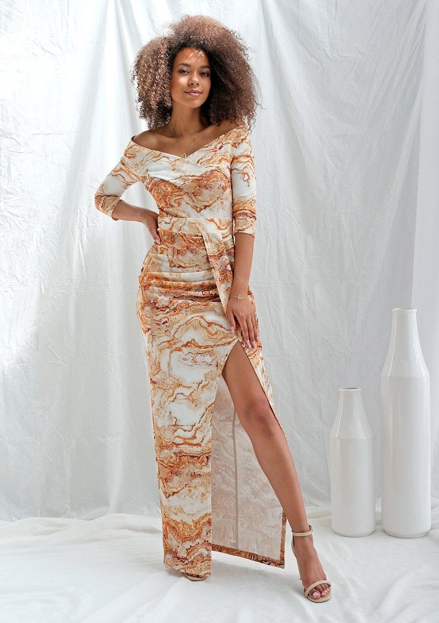 Dopasowana sukienka maxi gold print