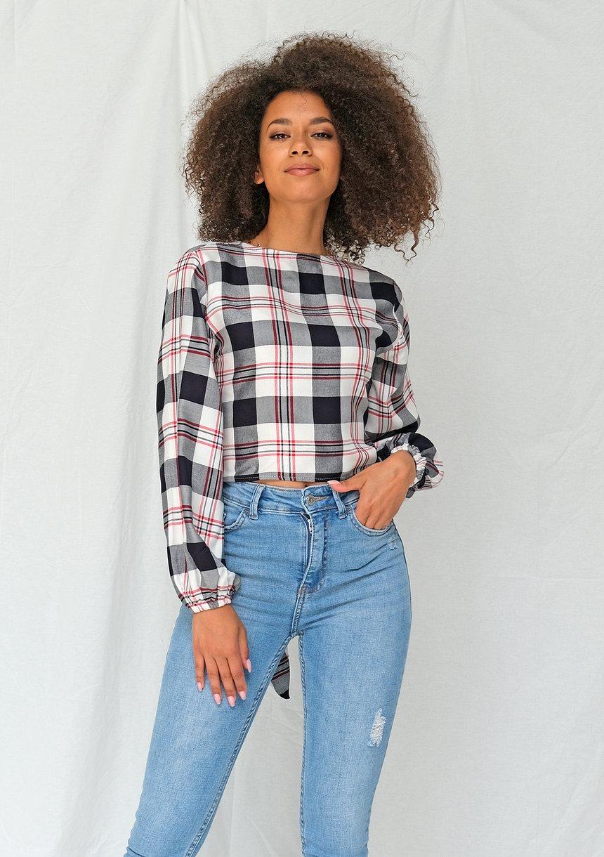 Wiązana koszula w kratę Granatowa
