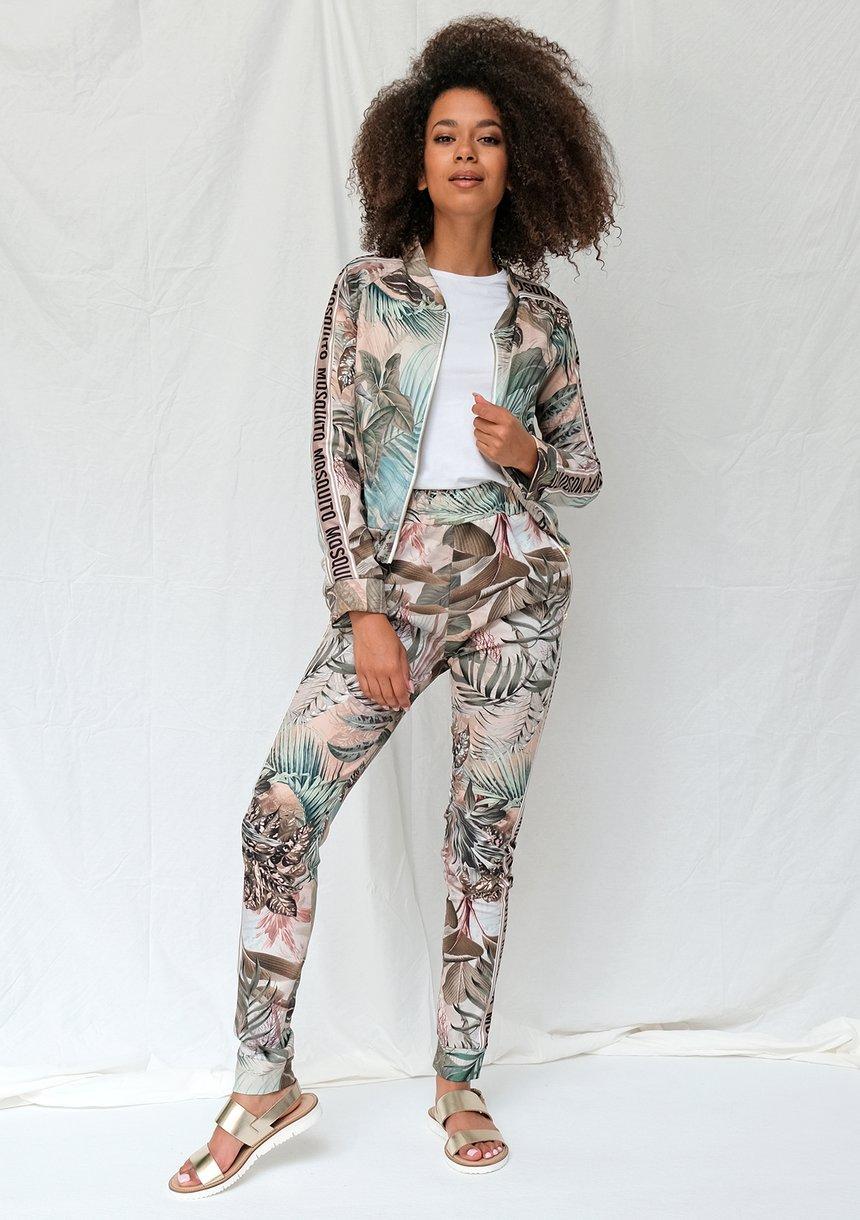 Spodnie z lampasem exotic garden print