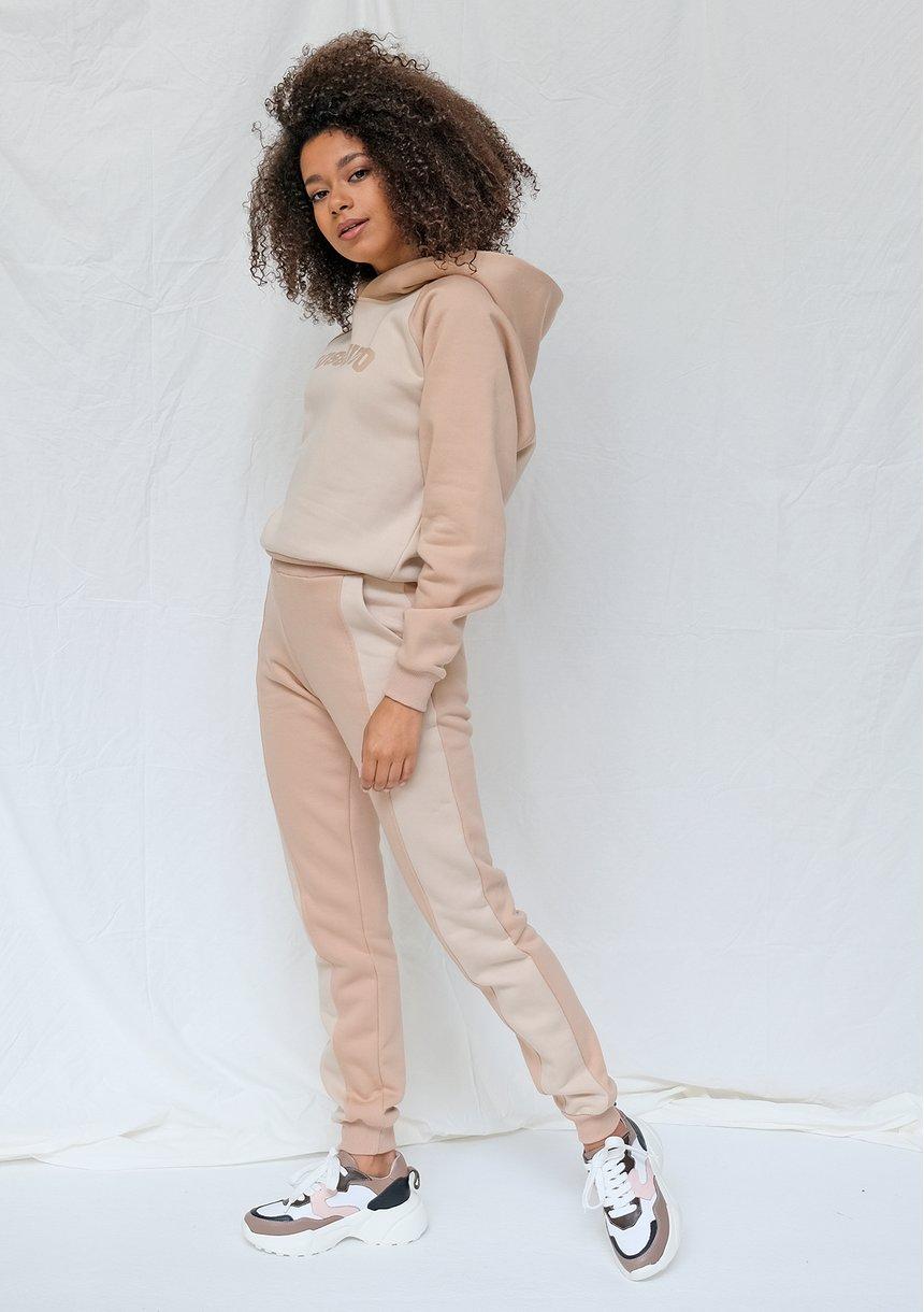 Spodnie dresowe ze wstawką taupe ILM