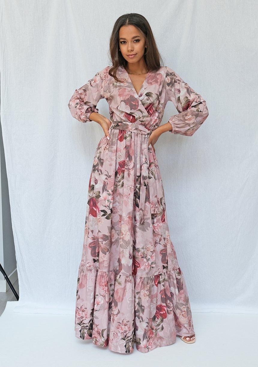 Kopertowa sukienka maxi powder flower print