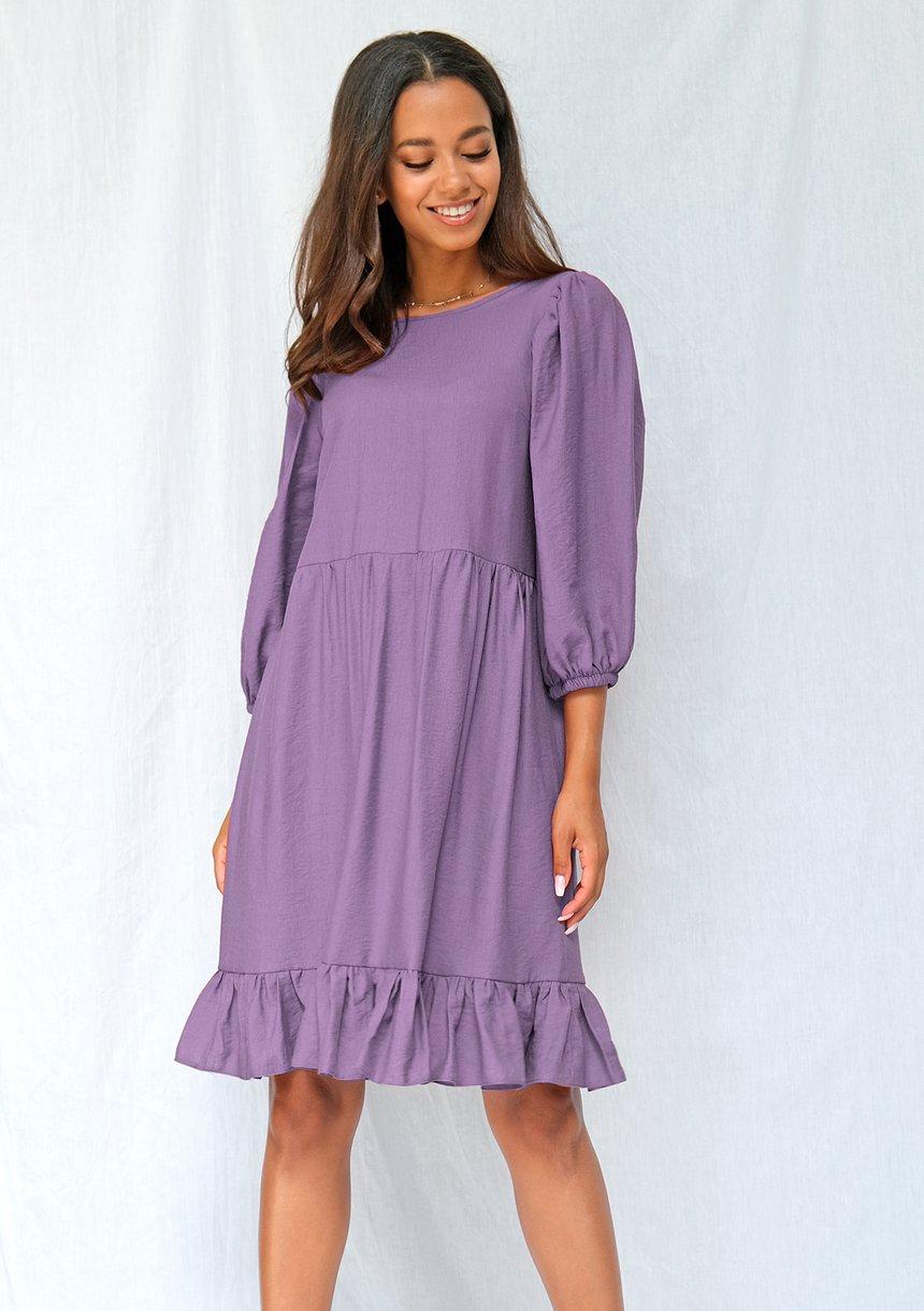 Jesienna sukienka z szerokim rękawem lavenda
