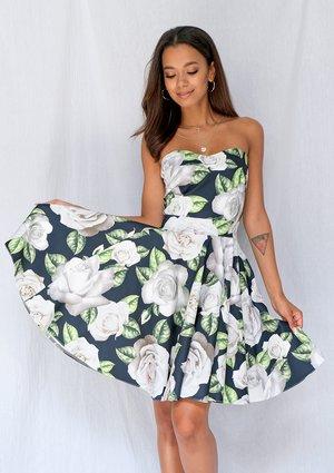 Gorsetowa sukienka w róże white