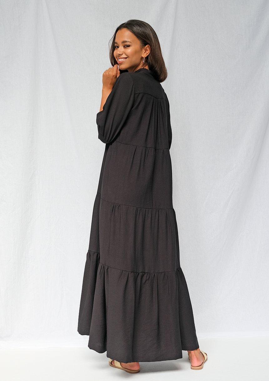 Sukienka maxi na stójce czarna