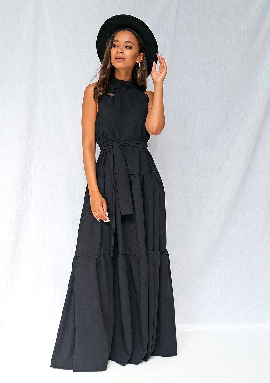 Sukienka maxi z zabudowanym dekoltem czarna