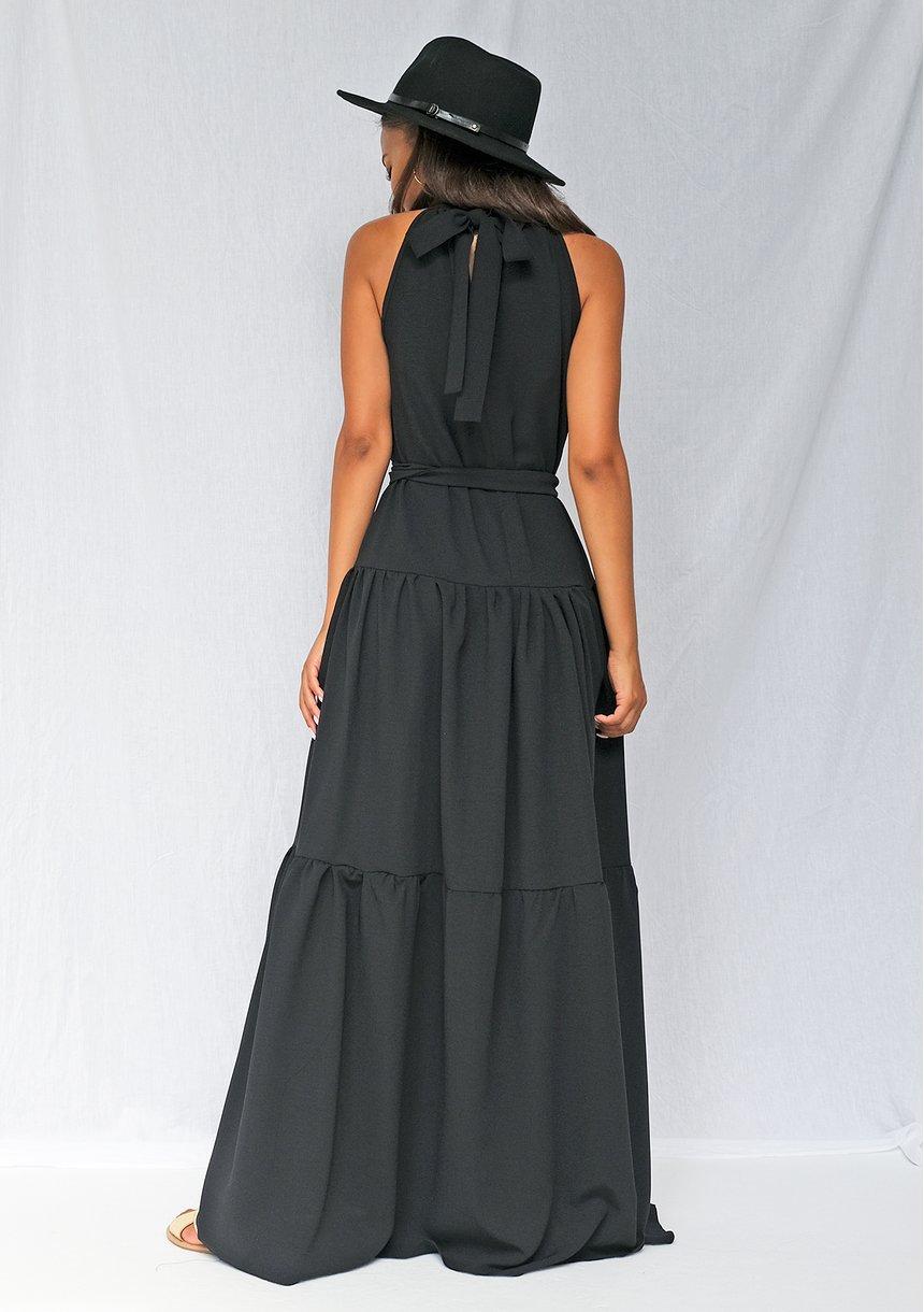 Sukienka maxi z falbanami wiązana na szyi czarna