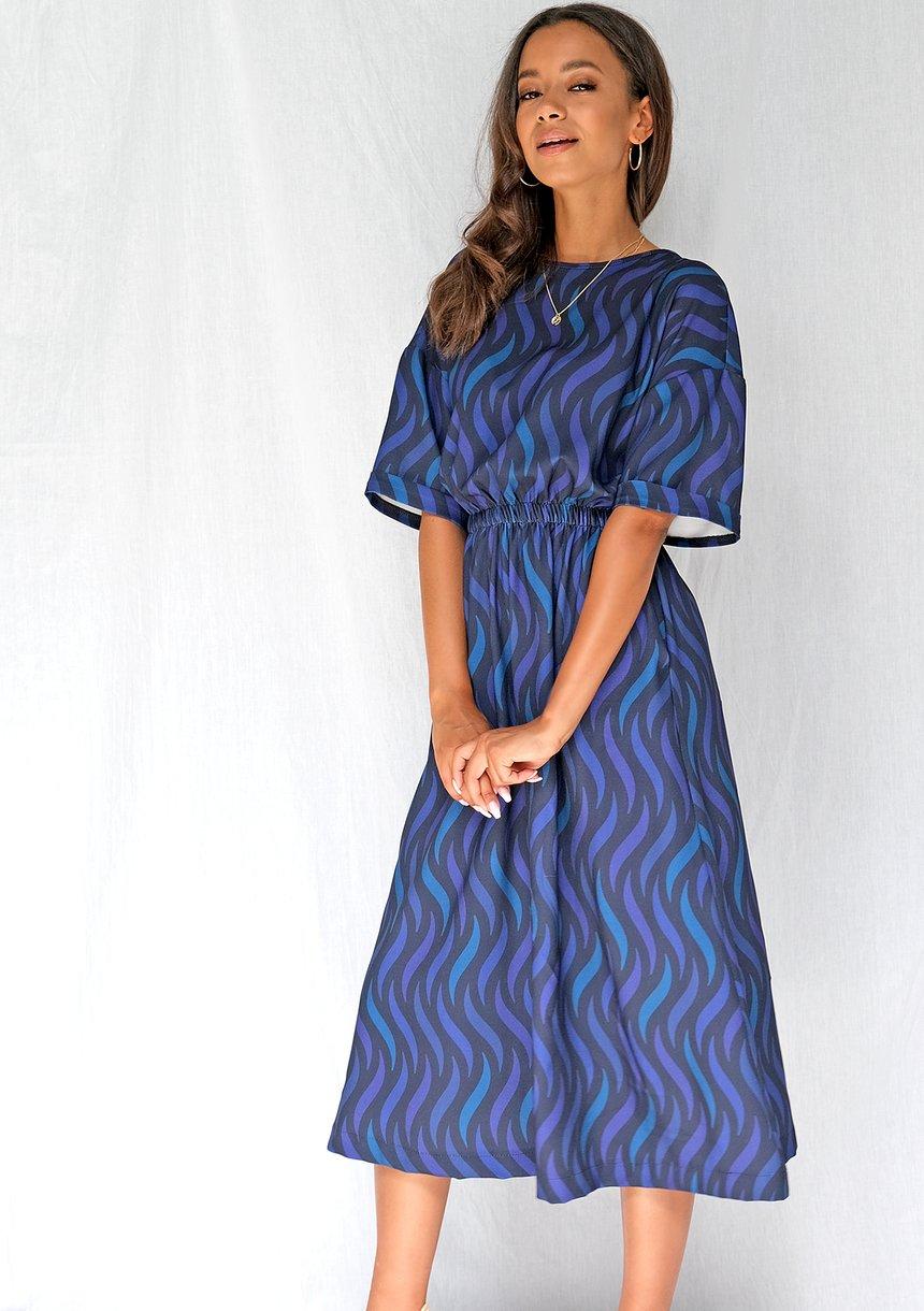 Sukienka midi navy print
