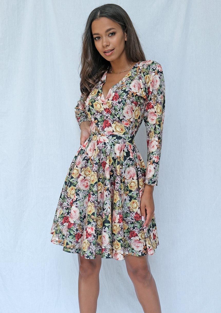 Kopertowa sukienka z długim rękawem flowers print