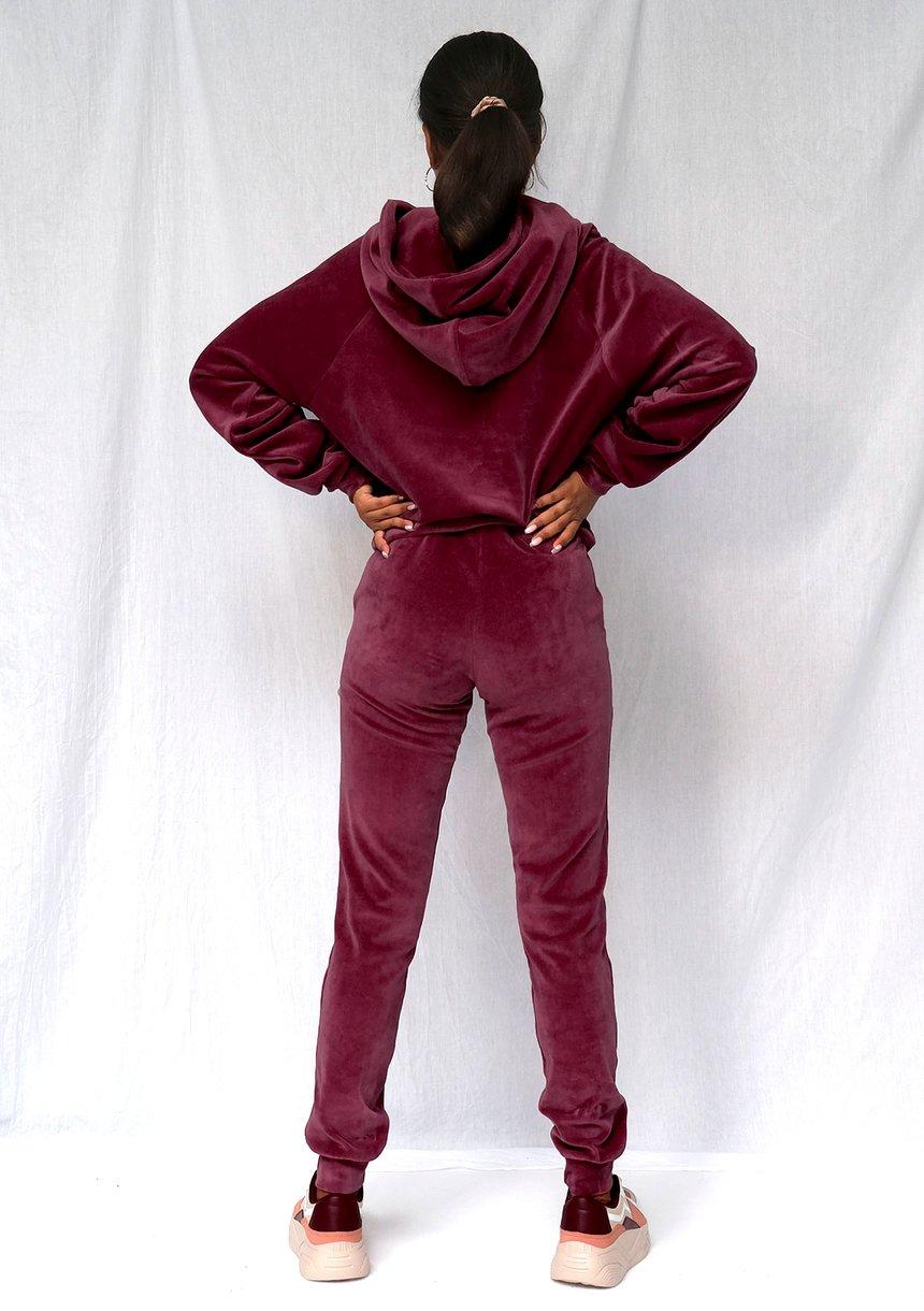 Welurowe spodnie w kolorze bordowym ILM