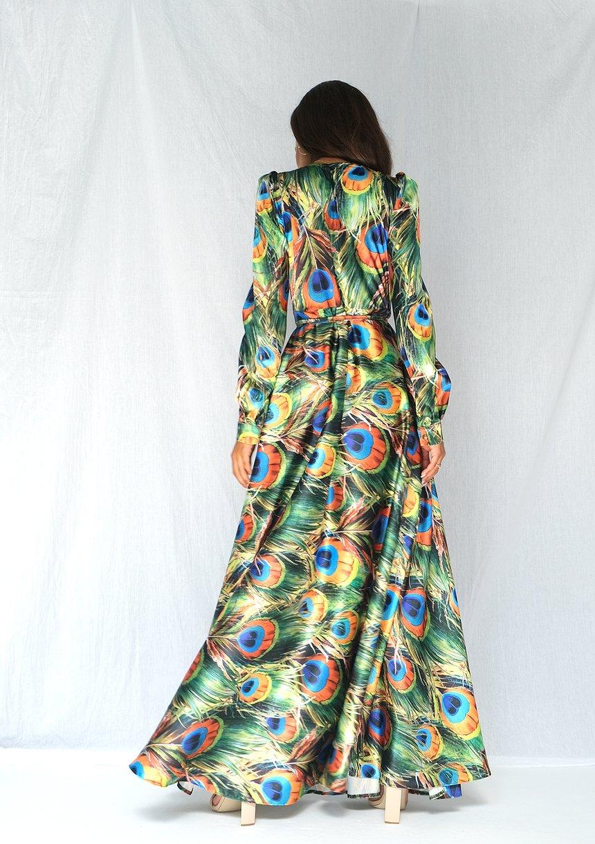 Kopertowa sukienka maxi w pawie pióra