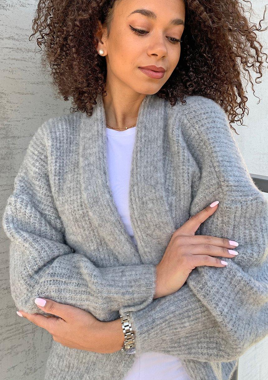 Sweter kardigan A48  ILM Szary