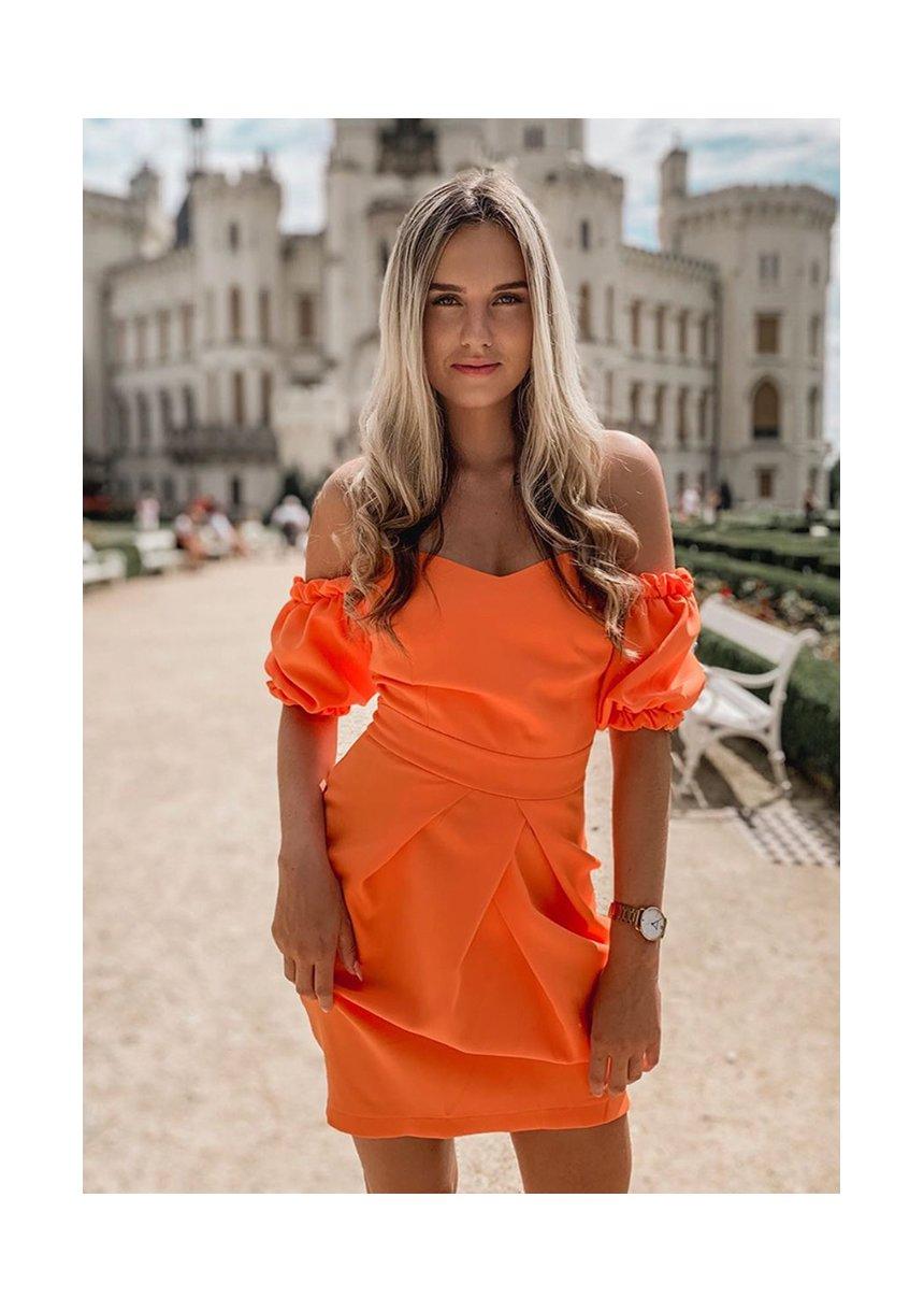 Gorsetowa sukienka tulipan pomarańczowa