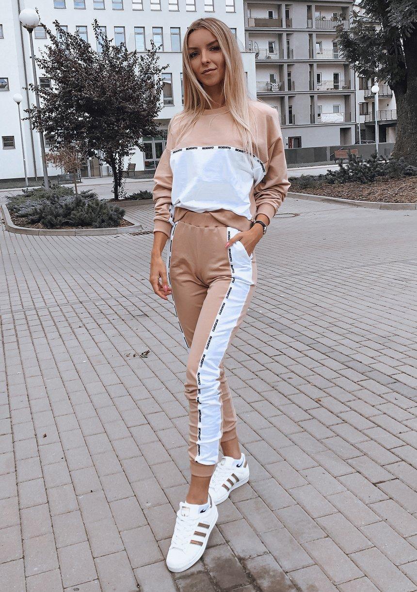 Spodnie two colors z lampasem Taupe ILM
