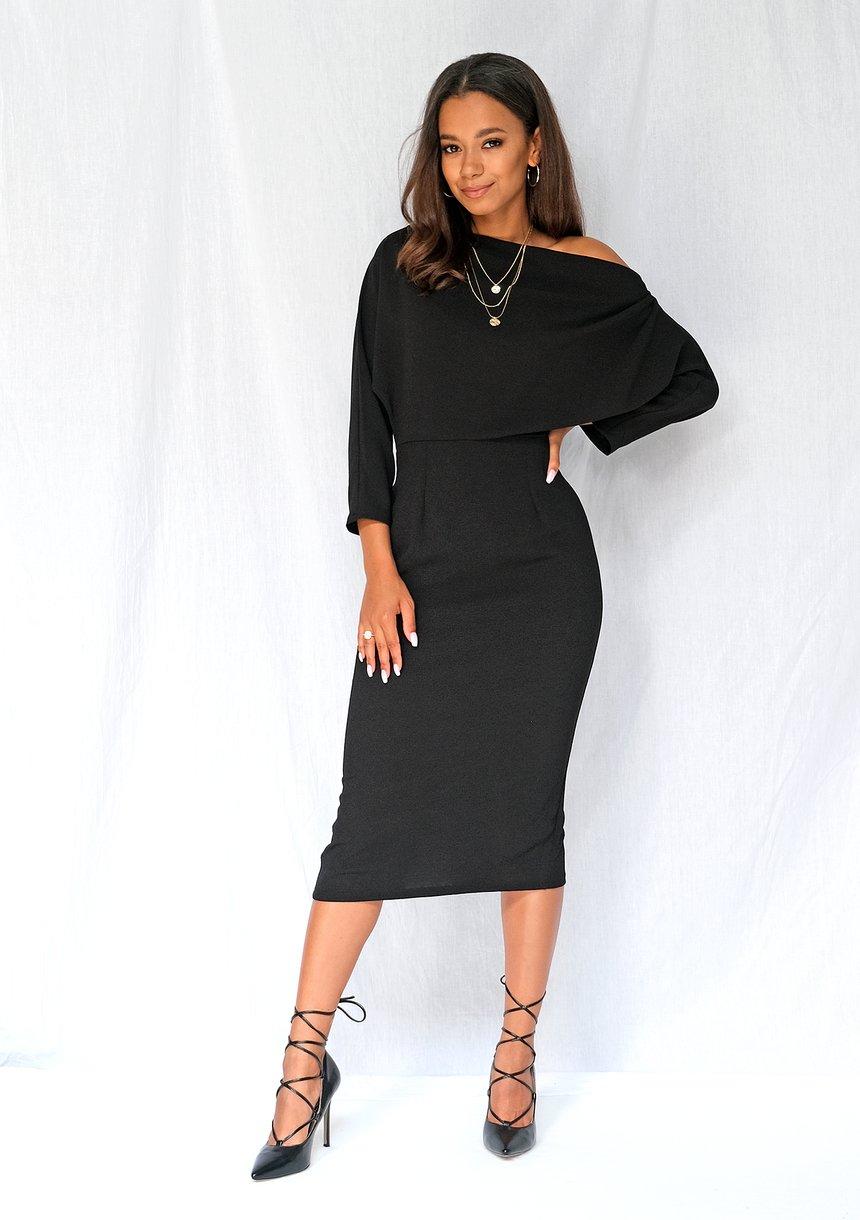 Sukienka midi z dekoltem w łódkę czarna