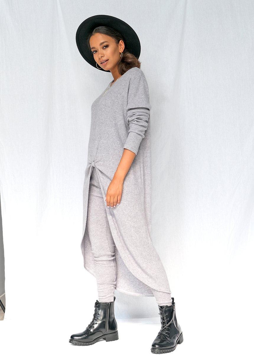 Swetrowa tunika w prążek szara