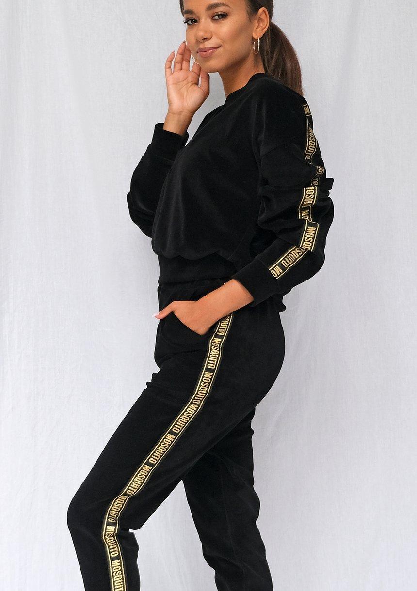 Bluza z weluru dekolt v gold logo stripe Czarna